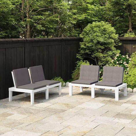 Bancs de salon de jardin avec coussins 2 pcs Plastique Blanc