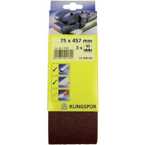 Banda de lija SB 3 unidades 75x 533mm K 80 Klingspor