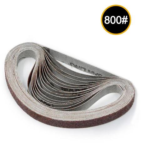 Bandas de lijado abrasivo de 10x330 mm, grano 800, 10 piezas