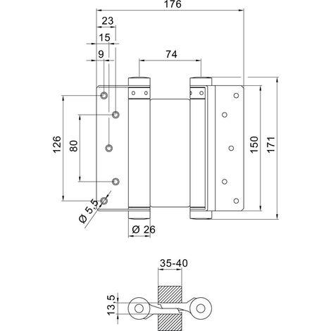 Bandas de puerta de Pendulate no. 36 acero non-stranst. 150mm