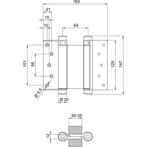 Bandas de puerta Pendulle no. 33 acero níquel 125mm