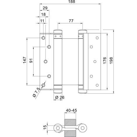 Bandas de puerta Pendulle no. 39 acero-blanco 175mm