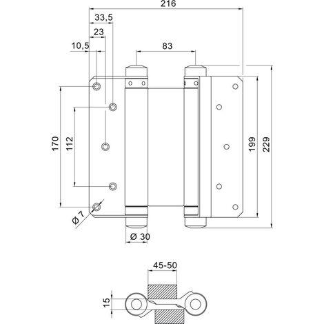 Bandas de puerta Pendulle no. 42 acero-Blank 200mm