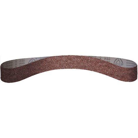 Bande abrasive 13x455 mm support toile pour lime électrique grain 80 - Qualité Pro Klingspor, le lot de 10