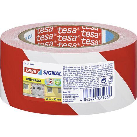 Bande adhésive de marquage tesa 58134-00000-00 rouge, blanc (L x l) 66 m x 50 mm 1 pc(s) Y56990