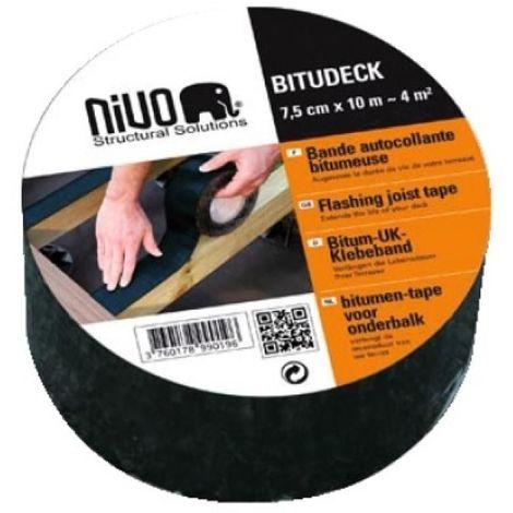 Bande bitumineuse autocollante Bitudeck longueur 10 m, largeur 7,5 cm, épaisseur 1,4 mm