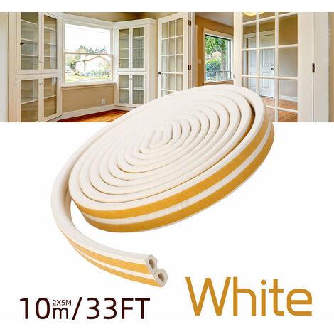 Bande de Joint 10 M Auto-adhésif Joint d'étanchéité de porte pour fenêtre Preuve de collision, 9x6mm(blanc)