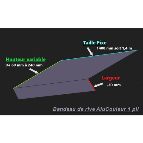 Bande de Rive Aluminium RAL 7015 (1 pli, retour 30 mm, ep 1.5mm) (Plusieurs Hauteurs disponibles)