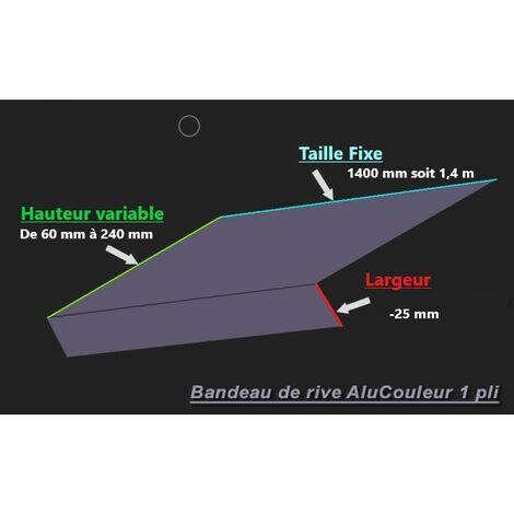 Bande de Rive Aluminium RAL 7016 (1 pli, retour 25 mm, ep 1mm) (Plusieurs Hauteurs disponibles)