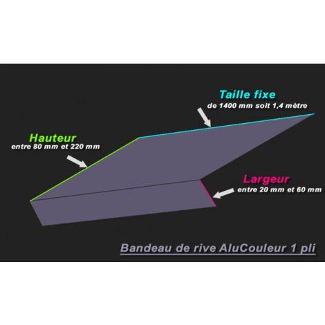 Bande de Rive Aluminium RAL 8017 (1 pli, retour 30 mm, ep 1.5mm) (Plusieurs Hauteurs disponibles)