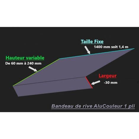 Bande de Rive Aluminium RAL 9005 (1 pli, retour 30 mm, ep 1.5mm) (Plusieurs Hauteurs disponibles)
