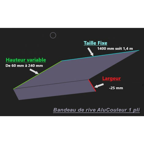 Bande de Rive Aluminium RAL 9010 (1 pli, retour 25 mm, ep 1mm) (Plusieurs Hauteurs disponibles)