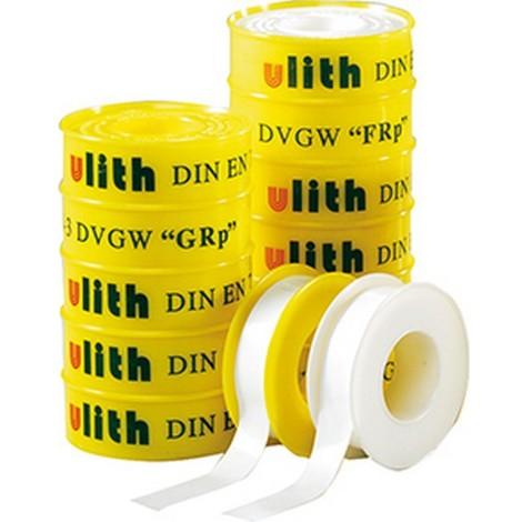 Bande d'étanchéité pour raccords filetés PTFE, Modèle : 12 mm x 12 m (100 g/m²), Pour filetage Filetage fin ''FRp'', Couleur Noyau blanc/enveloppe jaune