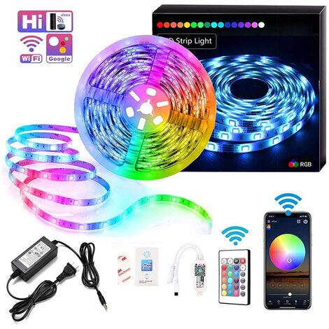 """main image of """"Bande LED RGB , 10M, 300 LED, Contrôlé par Avec contrôleur WIFI 24 touches et,Bande lumineuse autocollante pour fête, maison(Non Étanche)GrooFoo"""""""