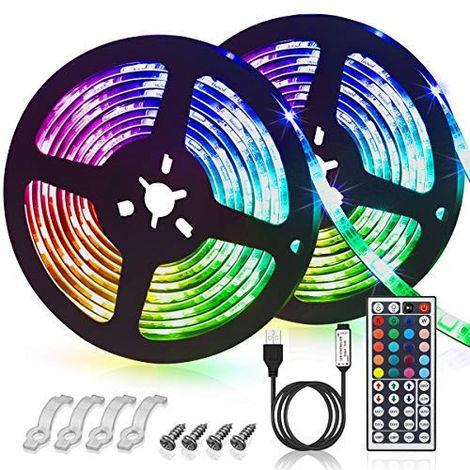 Bande LED USB, Ruban LED 6m Multicolore 180 LEDs IP65 Etanchéité,20Couleurs 6Modes Télécommande pour l'Intérieur et l'Extérieur
