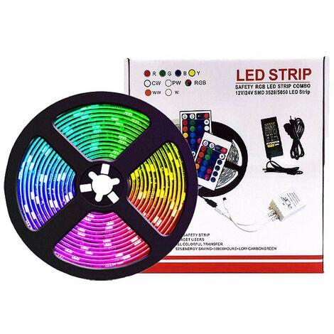 Bande lumineuse LED Bluetooth, bande lumineuse LED 5M RGB 5050 IP65 avec 28 modes dynamiques, bande lumineuse multicolore contrôlée par l'application et la télécommande, synchronisée avec le rythme de la musique et la fonction de minuterie