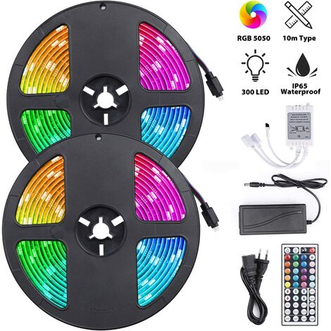 """main image of """"Bande lumineuse LED RGB, Ruban LED 10M avec 300 LED de lumière, Bande Auto-adhésive Télécommandée IP65 imperméable pour Mur Arrière Party(Bande LED 2 x 5m)"""""""