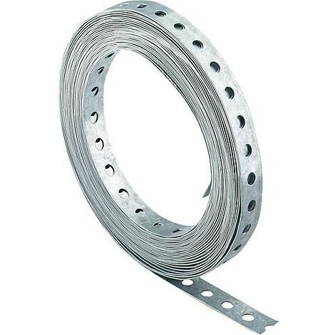 Bande perforee acier zingue Larg 17 mm/rouleau 10 m