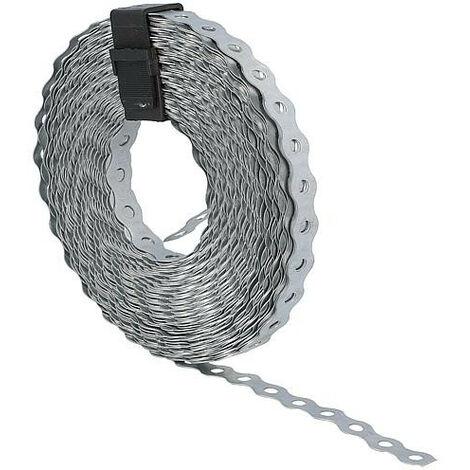 Bande perforée ondulée acier zingué, largeur: 17 mm, rouleau: 10 m