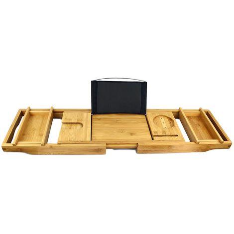 Bandeja de Baño de Bambú, Bandeja para Baño hecha de Madera, Con 2 soportes desmontables y jabonera, tela negra, Material: Bambú