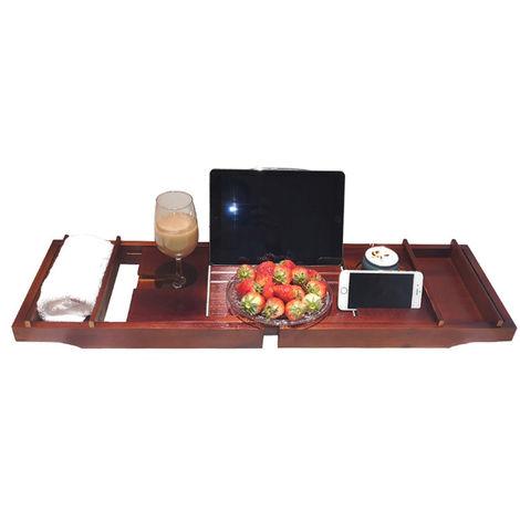 Bandeja de bano, soporte para vino para libro, extensible, rojo
