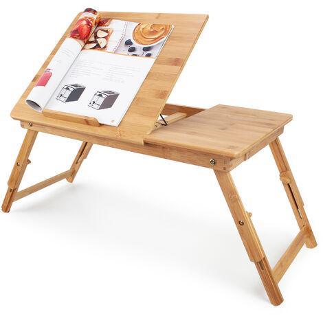 Bandeja de Cama Plegable, Mesa Portátil para Laptop, Escritorio ajustable con ventilación, Material: Bambú