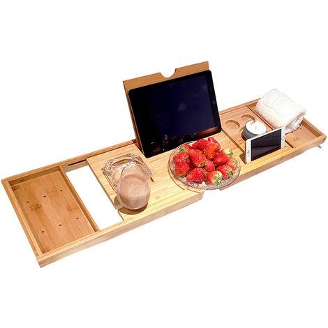Bandeja para banera, organizador de banera de bamb¨² para spa, soporte para tableta de vino
