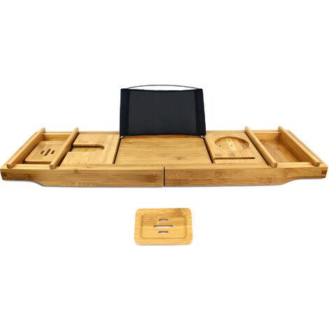 Bandeja para Baño hecha de Madera, Bandeja de Baño de Bambú, Con 2 soportes desmontables y jabonera, tela negra, Material: Bambú