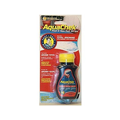 Bandelettes Aquacheck Red brome total AQUALUX - testeur pH + alcalinité totale + dureté totale - 50 bandelettes - TABRPHB