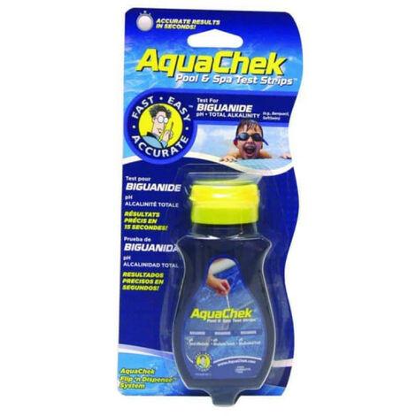 Bandelettes Aquachek analyse eau traitée sans chlore : pH, Alc & Biguanide