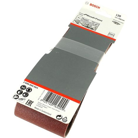 Bandes abrasives 75x508 120g par 3 pour Ponceuse Black & decker