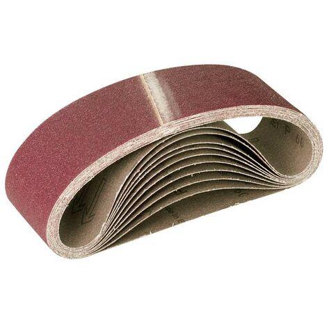 Lot de 10 bandes abrasives pour ponceuse /à bande 75 x 457 mm Grain 120 pour ponceuse /à bande abrasive
