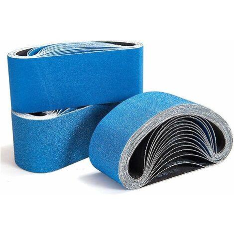 Bandes abrasives.100 x610 mm Groupe de bandes abrasives,bande abrasive 3x60/80/100/120 grains pour ponceuse à bande.Utilisé pour l'ébauche,le décapage de peinture et le polissage (12PCS)