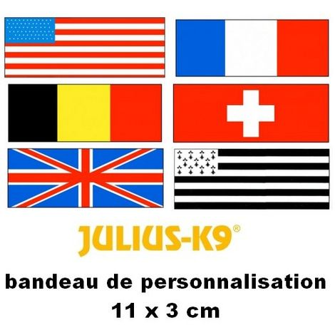 Bandes de personnalisation (Drapeaux) 11 x 3 cm pour harnais Julius K-9 Désignation : Drapeau BRETAGNE Julius K9 600538
