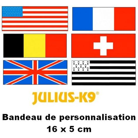 Bandes de personnalisation (Drapeaux) 16 x 5 cm pour harnais Julius K-9 Désignation : Drapeau BRETAGNE Julius K9 600532