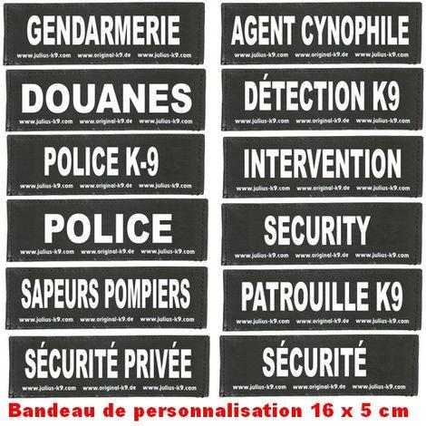 Bandes de personnalisation (type sécurité) 16 x 5 cm pour harnais Julius K-9 Désignation : DETECTION K9 Julius K9 600507