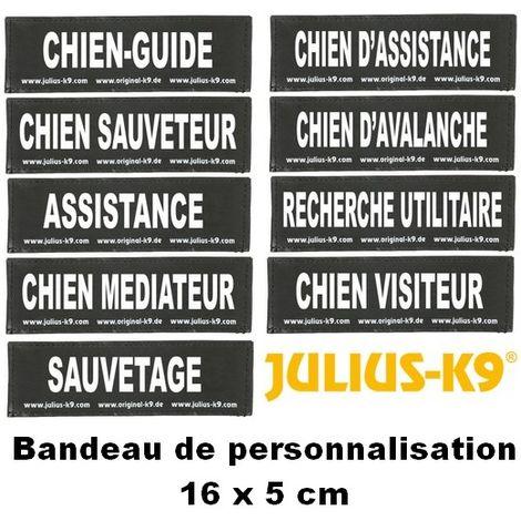 Bandes de personnalisation (type utilitaire) 16 x 5 cm pour harnais Julius K-9 Désignation : CHIEN MEDIATEUR Julius K9 600515