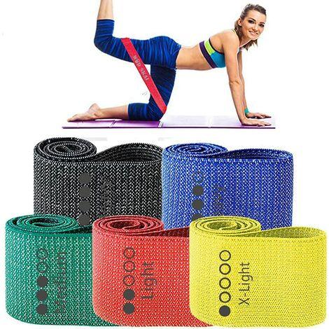Bandes de tissu d'exercice de résistance , bandes d'entraînement antidérapantes pour jambes et fesses et fessiers, bandes d'entraînement physique à 5 niveaux pour la Obliger, la physiothérapie, avec sac de transport et livret d'exercices