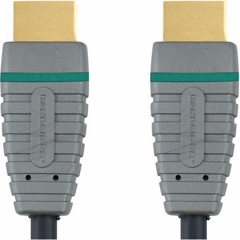 Bandridge Cable HDMI A macho - macho de 10 metros con Ethernet, color azul, admite 4K2K 3D TV, contactos chapados en oro