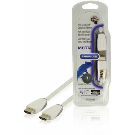 Bandridge Cable HDMI macho - macho con Ethernet de 2 metros, color blanco, diámetro de 6 mm