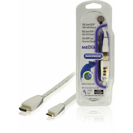 Bandridge Cable mini HDMI macho - macho mini con Ethernet, tamaño 2 metros, exterior de PVC