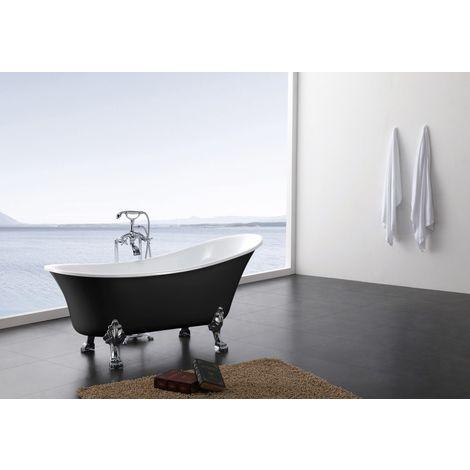 Bañera de acrílico con patas PARIS, 176 x 71 cm, BS-830 negro