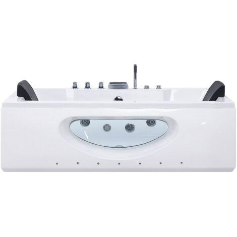 Bañera de hidromasaje blanca con LED 180 cm HAWES