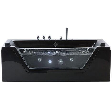 Bañera de hidromasaje con LED 170 cm negra SAMANA