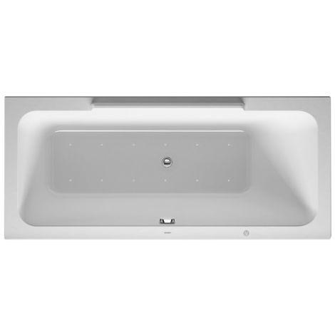 bañera de hidromasaje Duravit DuraStyle 1700x700mm, versión empotrada o para revestimiento de bañera, 1 respaldo inclinado a la derecha, marco, desagüe y rebose, sistema de chorro - 760293000JS1000