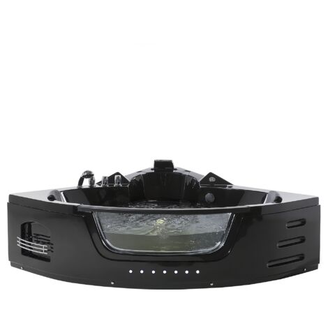 Bañera de hidromasaje negra con LED 140 cm MARTINICA