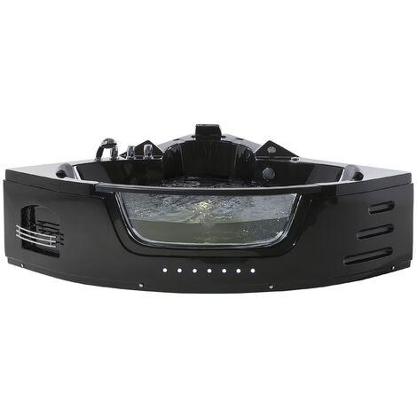 Bañera de hidromasaje negra con LED 155 cm MARTINICA