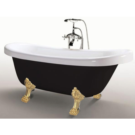 Bañera Independiente Freestanding 170x80cm Tradicional clásica Margherita Black