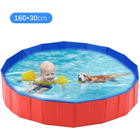 Banera para mascotas, 160 * 30 cm rojo y azul