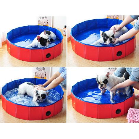 Banera para mascotas, 80 * 20 cm, rojo y azul
